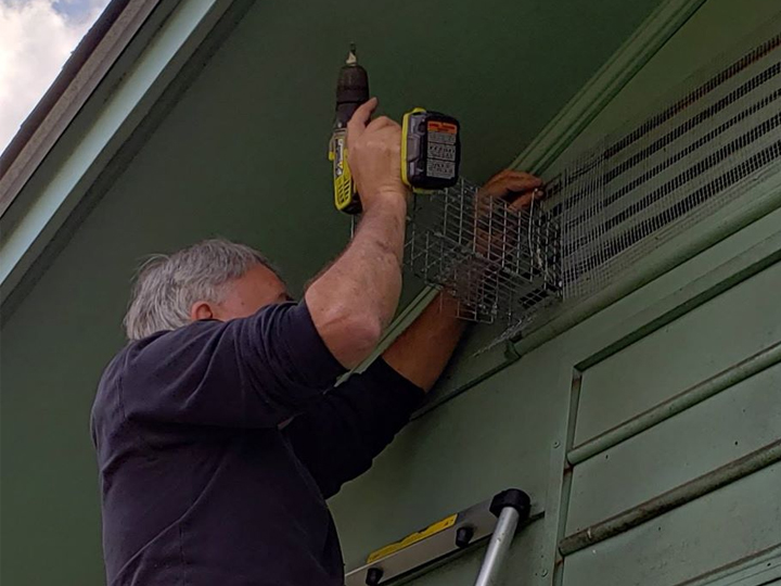 man applying a steel mouse trap to the side of a house